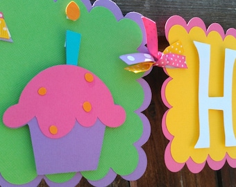Cupcake Birthday Banner. Sweet Shop Birthday Banner. Girl's Birthday Banner. First Birthday Banner. Rainbow Birthday Banner. 1st Birthday