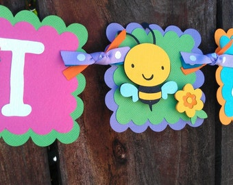 "Garden theme, bugs and flowers ""I Am One"" Highchair Banner in bright colors OR Pick your Own Colors"