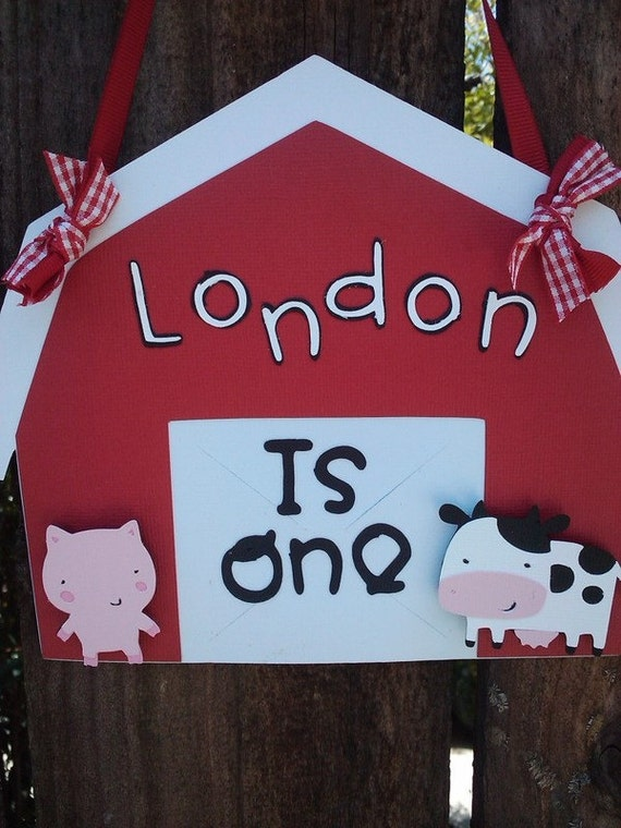 Farm Door Sign with cow and pig