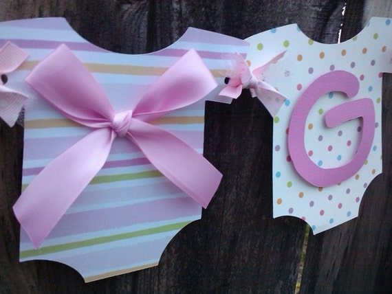 It's A Girl Banner, Onesies on a clothesline, dots and stripes