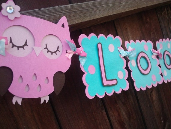 Owl Girl Happy Birthday Banner, or Look Whoos 2 banner, in pink and aqua OR pick your own theme and colors