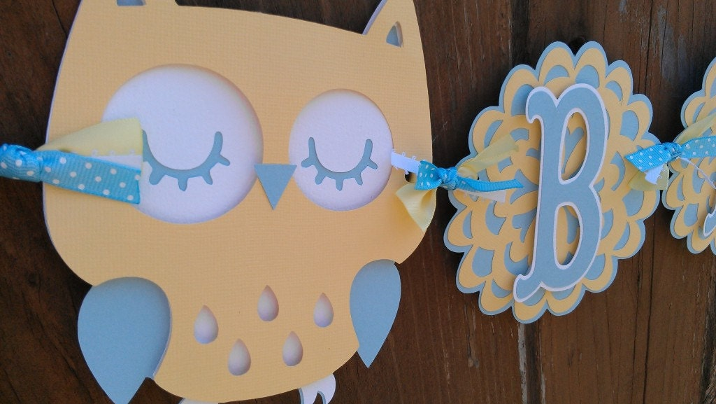 Owl baby shower banner yellow and baby blue boy baby shower for Baby shower owl decoration ideas