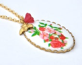 Insect Jewelry Necklace Vintage Cabochon Red Pink Floral