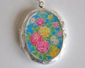 Keepsake Locket Necklace Silver Tone Vintage Style Colorful Floral