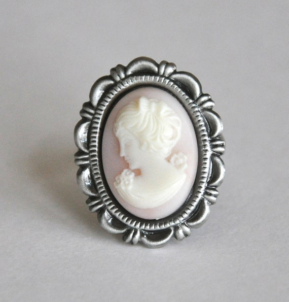 Cameo Ring Antique Silver Vintage Inspired Summer Fashion Jewelry