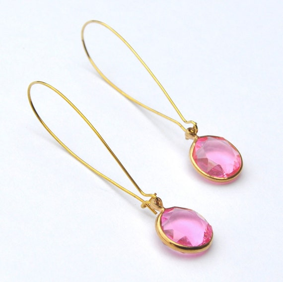 Drop Earrings Vintage Pink Lucite Fashion Jewelry
