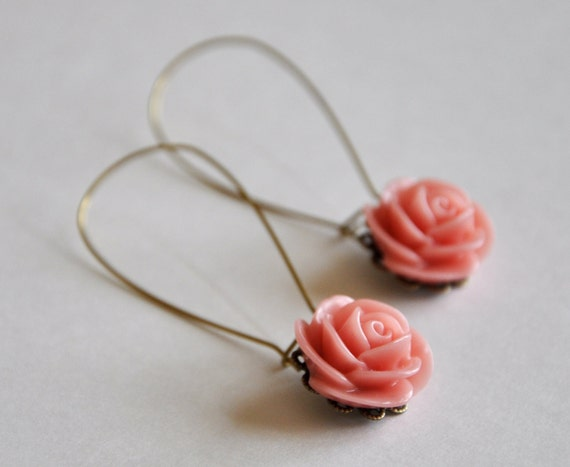 Spring Fashion Coral Rose Earrings Drop Flower Cabochon Vintage Inspired Delicate Jewelry
