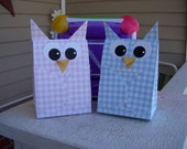 Owl Favor Box in Pink and or Blue Gingham Set of 12