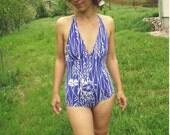 Vintage  70's Floral Print  Swimsuit