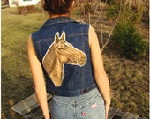 Vintage Levi Strauss Levi Denim Vest with Fringes and Horse applique backpatch jeans vest