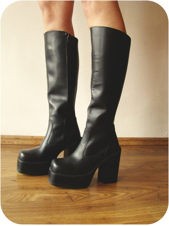90s Real Leather Chunky Platform Boots Goth Grunge