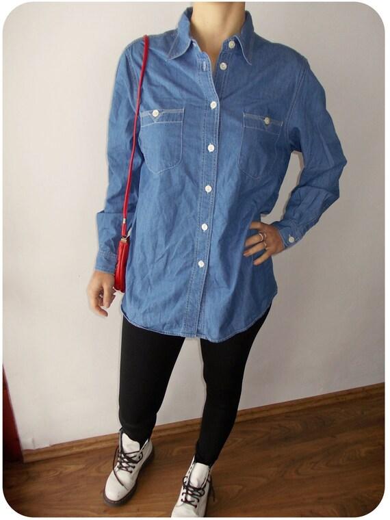 Vintage Denim Women Oversized jeans Shirt with Collars
