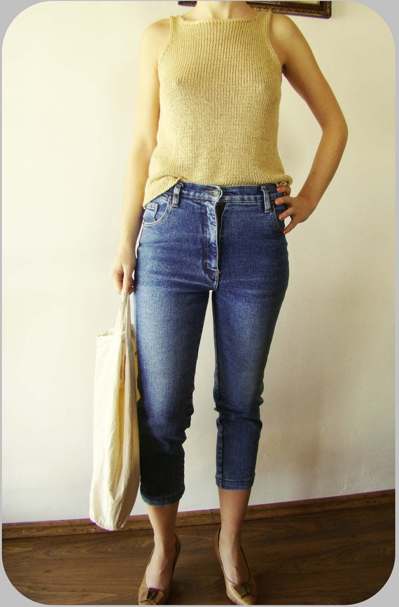 Vintage High Waisted blue jeans AMERICANO Denim Pants trousers