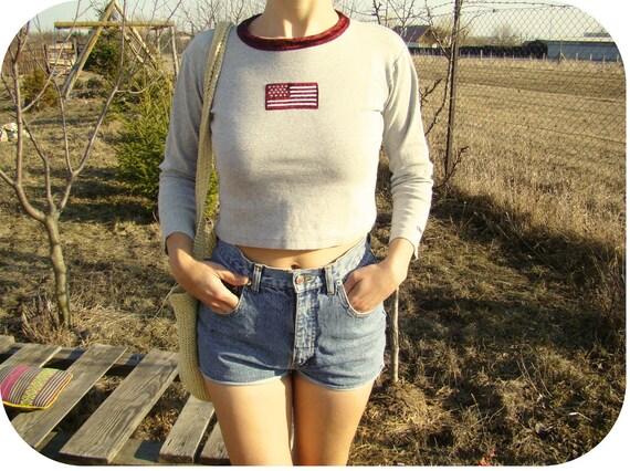 Vintage American Flag Crop Top Women Blouse