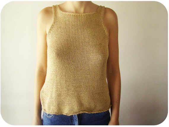 Vintage Beige Sand color Knit Tank Top knitted top 60's
