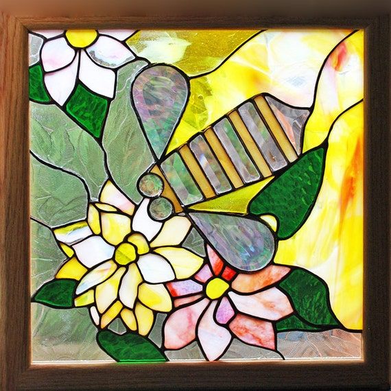 Flowers and Bee - Stained Glass Panel