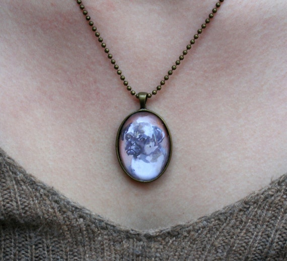 Pug pendant necklace watercolour cameo
