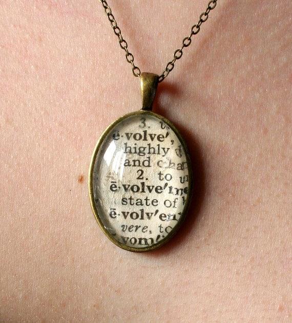 Evolve word pendant - original vintage dictionary
