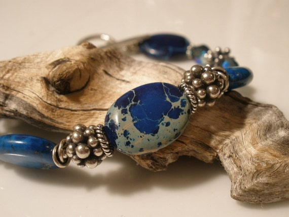HOLIDAY SPECIAL 50% OFF  Bali Sterling Silver beaded Bracelet with Imperial Sapphire Oval Jasper