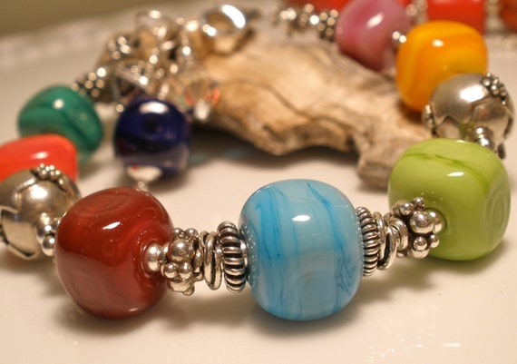 Colorful Lampwork Glass and Bali Sterling Silver Beaded Bracelet