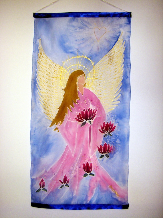 """Hand painted Angel Silk Wall Hanging """"The Path to Enlightenment'"""