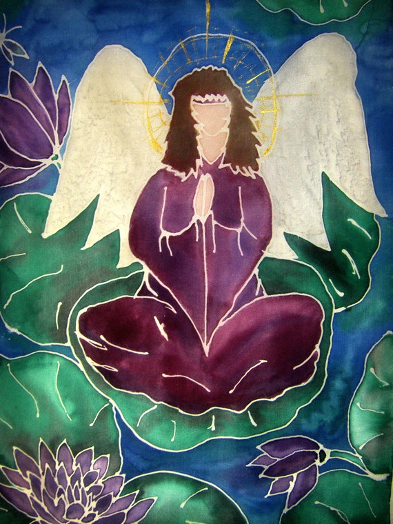 """SALE Hand painted Angel Silk Wall hanging  """"Sacred Place"""""""