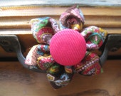 Pretty In Paisley Kanzashi Magenta and brown Fall Fabric Flower Hair Clip