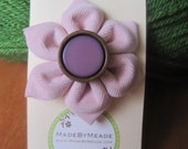 Pink & Purple Corduroy Fabric Flower Kanzashi Hair Clip