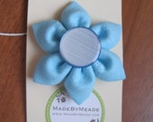 Robin's Egg Blue Linen Kanzashi Flower Hair Clip with vintage 1960s blue button