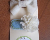 Blue and White Carnation Felt Flower Barrette and Bow Hair Clip Set