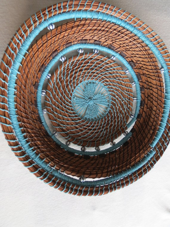 Beautiful hand made pine needle art basket Turquoise Beauty