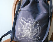 Blue Octopus Backpack Screen Printed Canvas
