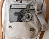 Vintage Camera Field Bag Canvas Screen Printed