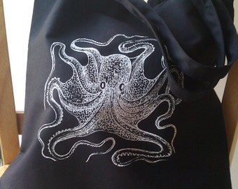 Octopus Tote Bag Black Canvas