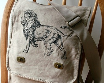 Lion Field Bag Canvas Messenger Bag Laptop Carrier