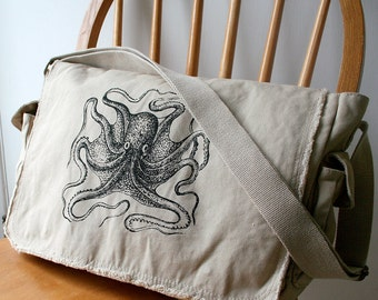 Octopus Messenger Bag Khaki Canvas Screen Printed