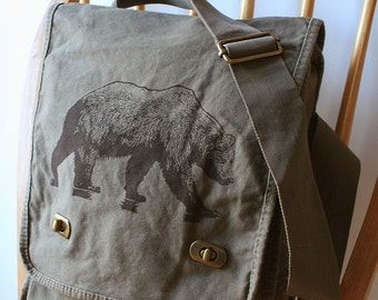 Grizzly Bear Field Bag Canvas Bag for Men Laptop Bag