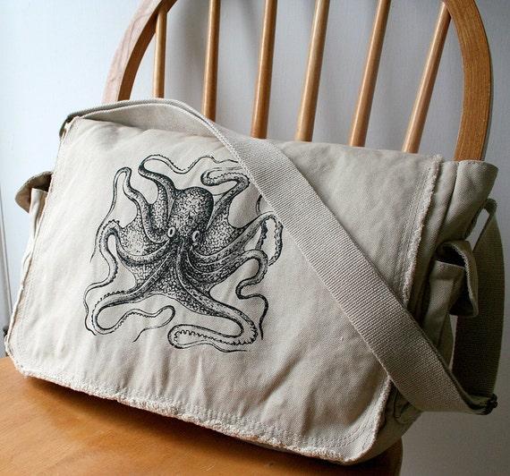 Octopus Messenger Bag Khaki Canvas Screen Printed