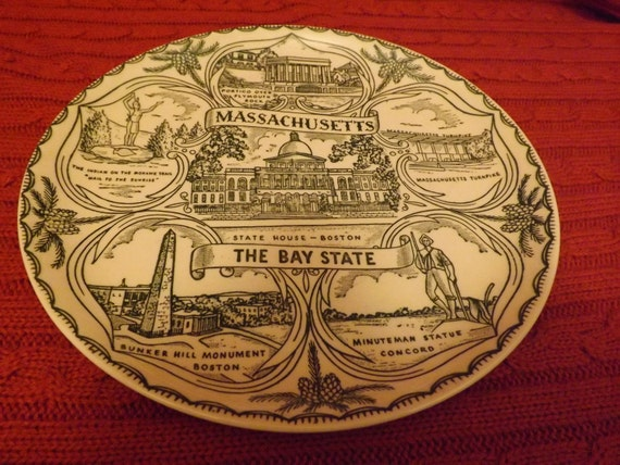Massachusetts State Plate in Green & Cream