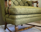 Mid Century Chair- Retro Green Tufted