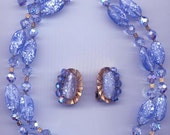Dazzling 2-stranded vintage Trifari necklace and earrings -- light sapphire lampwork glass
