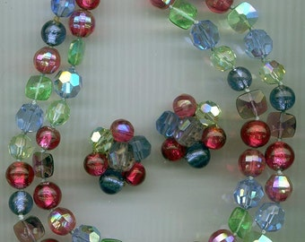 Magnificent Vogue 2-strand necklace and earrings  -- vibrant colors, rare beads