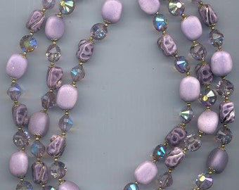Gorgeous 3-strand vintage Vendome glass and crystal necklace -- beautiful shades of violet