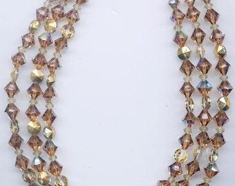 Sparkling vintage 3-strand all-crystal necklace -- Swarovski light smoked topaz
