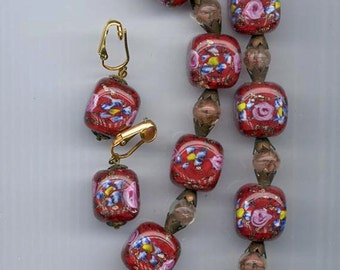 Awesome necklace and earrings of chunky ultra-rare dark red Czech lampwork glass beads