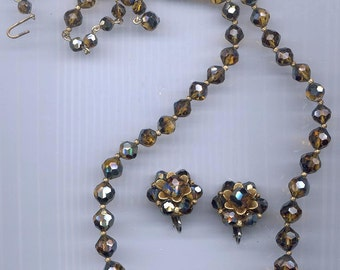 Dramatic necklace and earrings of super-rare vintage Swarovski mink crystals