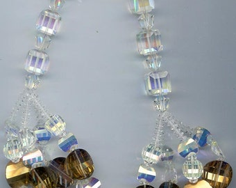 Astoundingly beautiful crystal Anne Kaye bib statement necklace -- pagoda beads and faceted cubes