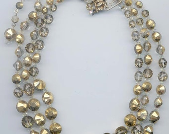 Dazzling vintage 3-strand Hobe necklace showcasing Art. 5101 crystal comet OR Swarovski crystals