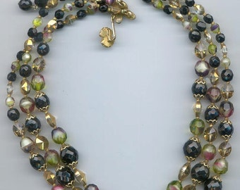 Vintage 3-strand Vendome necklace -- rare glass and crystal beads