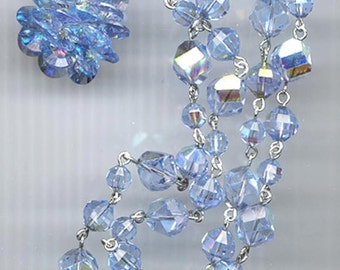 Vintage Vendome light sapphire crystal necklace and earrings -- dazzling crystal pendant